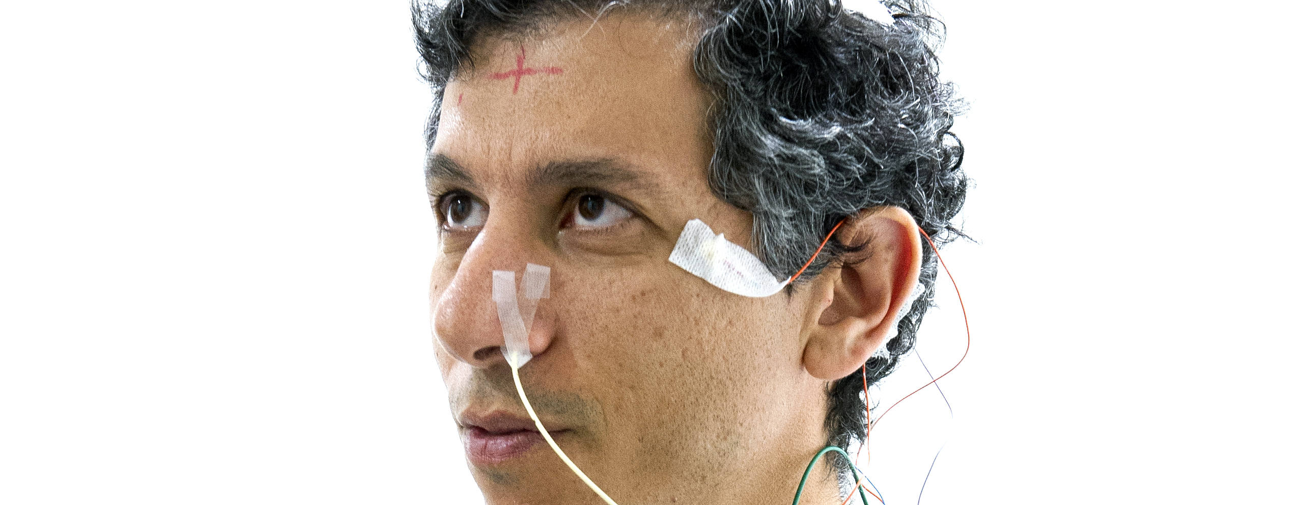 Research participant has sensors placed on temple and nose