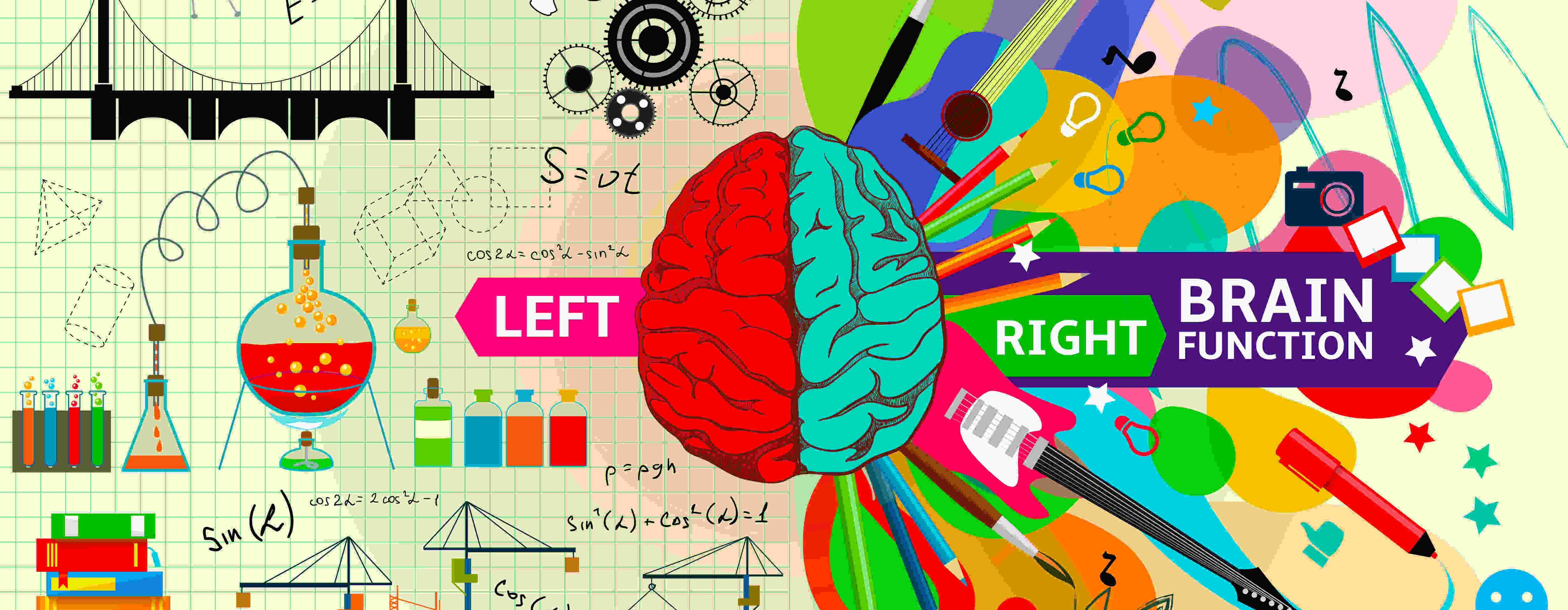 Digitally created image showing difference between left and right side of the brain