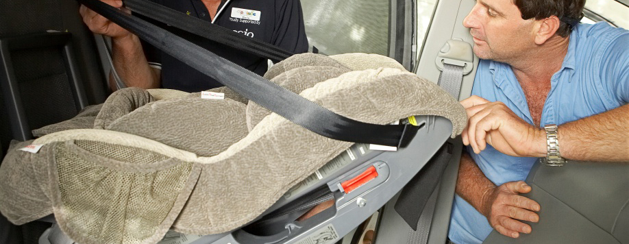 Child restraint seat being installed correctly