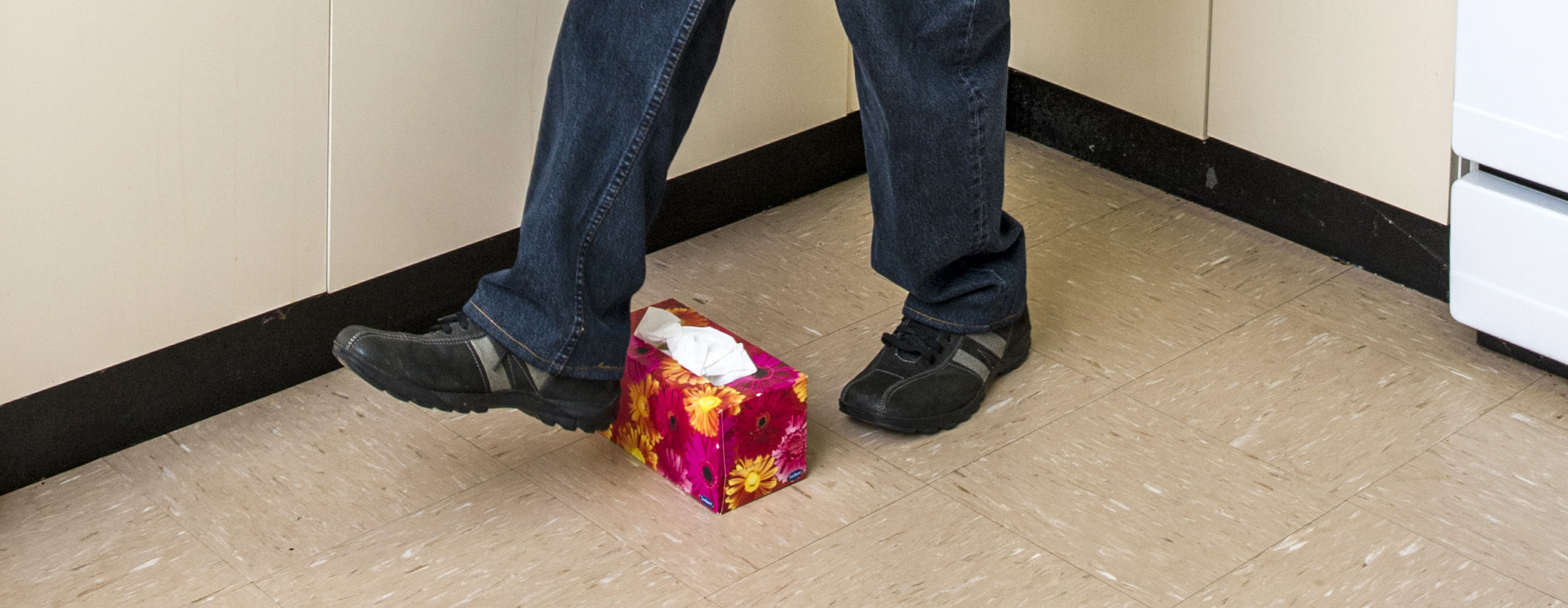 Person steps over object in study that improves balance in elderly