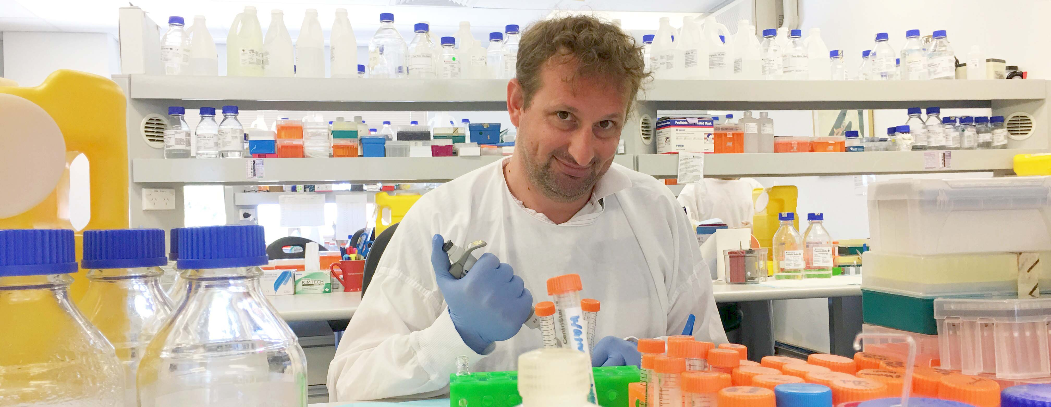 Dr Nic Dzamko in lab studying Parkinson's disease